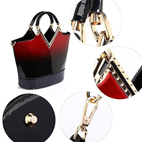 TrendStar - Bolso de asas para mujer Dorado dorado Rojo - borgoña