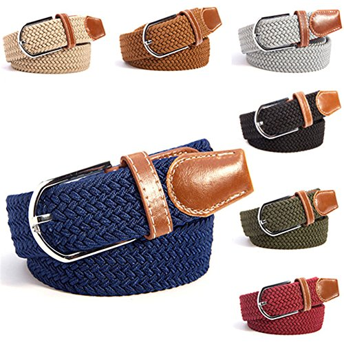 Gellwhu Unisex 7pcs Stretchy Woven Braided Design Adjustable Waist Belts (Color A (Belt Set)