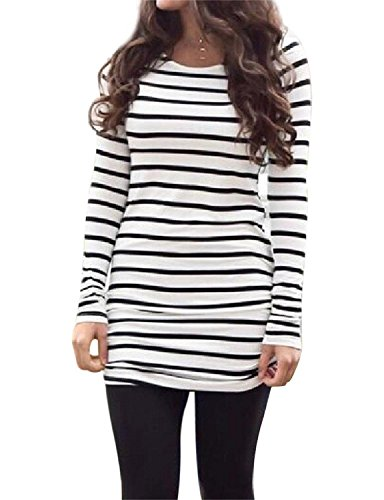 OURS Womens Basic Slin Fit Long Sleeve Striped T Shirt Dress Ruched Tunic Tops (L, Black and White) (T-shirt Long Striped)