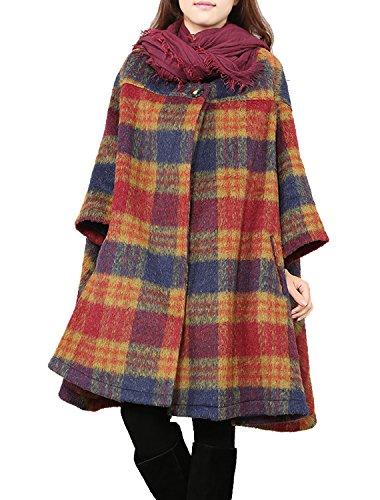Womens Jacket Fancy (Women's Winter Coat Cape Woolen Jacket Plaid Bat Sleeve Loose Coat (Red))