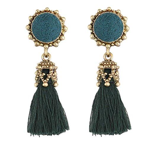 Inkach Tassel Earrings - Vintage Womens Bohemian Rhinestones Long Tassel Fringe Dangle Earrings (Diamond Tassel)