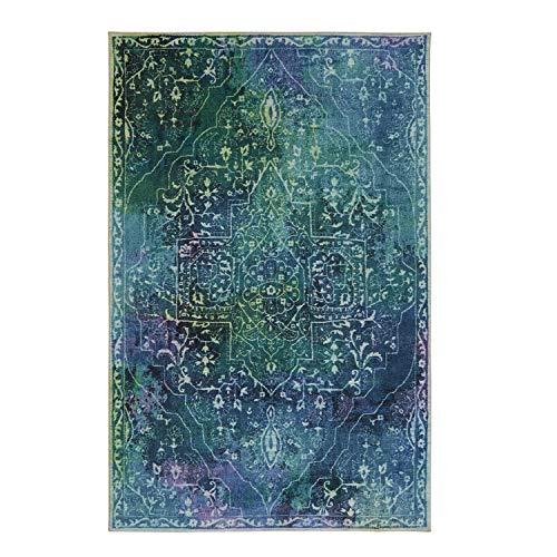Mohawk Home Z0168 A229 060096 EC Rowland Teal Area Rug, 5'x8', (Teal And Purple Area Rug)