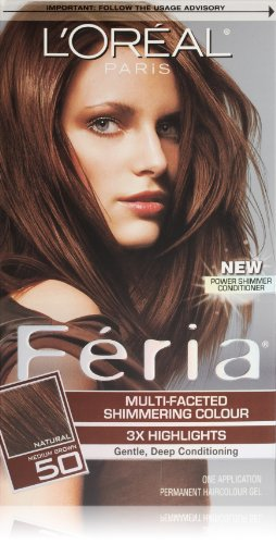 L'Oréal Paris Feria Permanent Hair Color, 50 Havana Brown (Medium Brown)