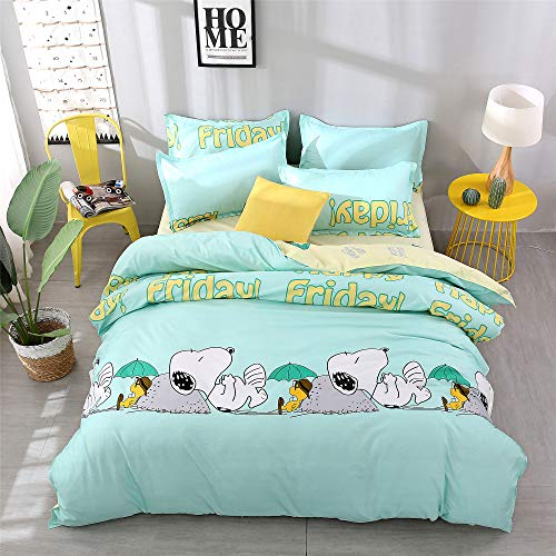 Cenarious Cute Snoopy Green Cartoon Style Duvet Cover Set Microfiber Polyester Flat Sheet Bed Cover - 4Pcs Bedding Set - Queen Flat Sheet Set - 86