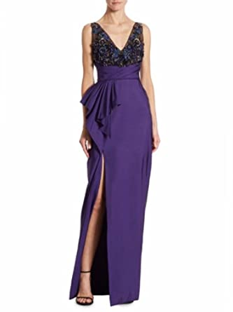 0f843153 Marchesa Notte Women's Sleeveless Draped Faille Gown 8 Purple at Amazon  Women's Clothing store: