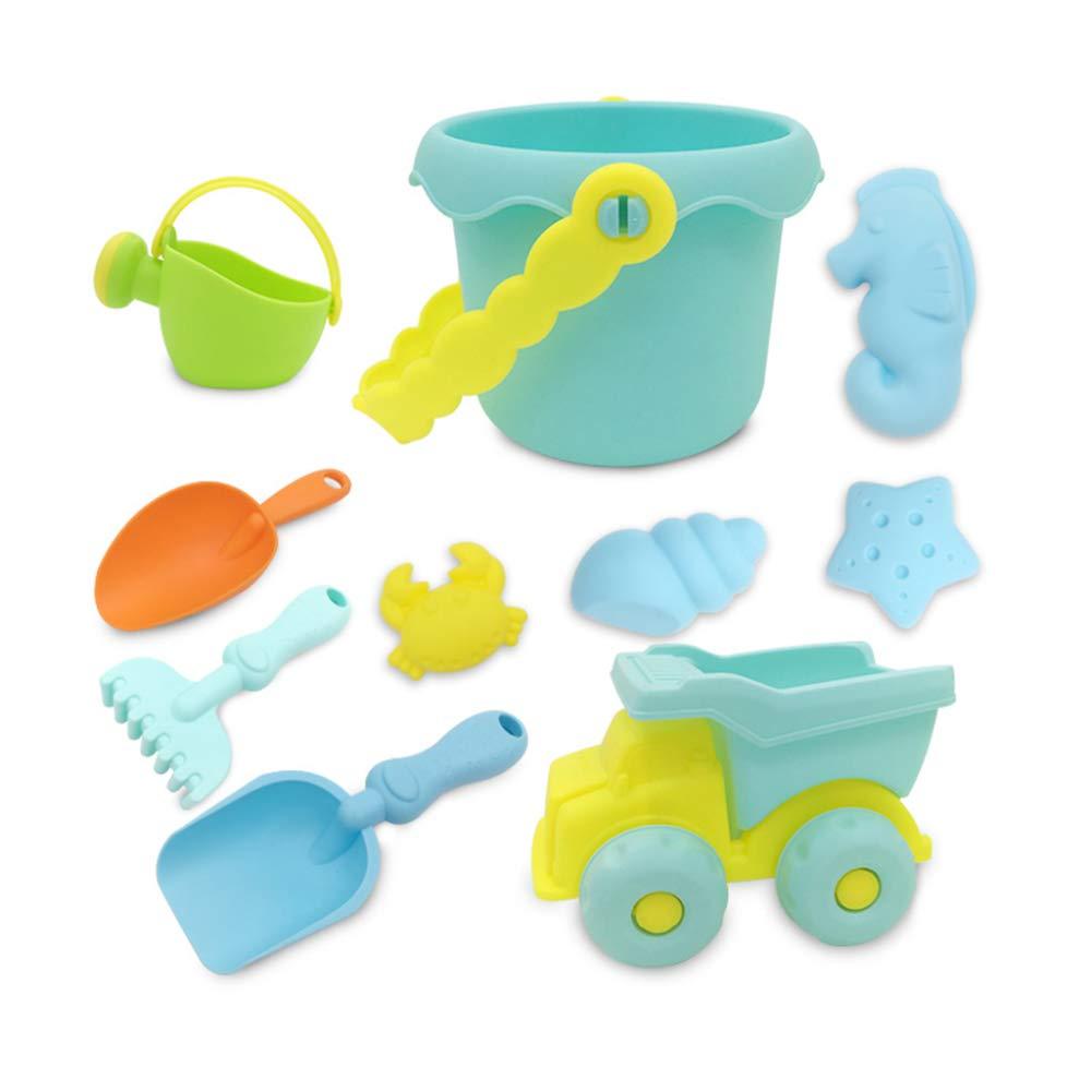 A  KS Ensemble de jouets de plage,10 Pièces Sandcastle Colle Molle Plastique Jouets De Plage,Lisse Sécurité Jouet Pour Bac à Sable Pour Enfants épaissir A