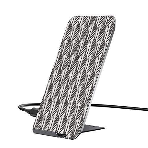 10W Wireless Charger and QC 3.0 Adapter kit,Dark Grey,Monochrome Curves Pattern Abstract Leaf Design Floral Foliage Retro Look,Dark Taupe Beige.with iPhone, Samsung and Supports All Qi Phones.