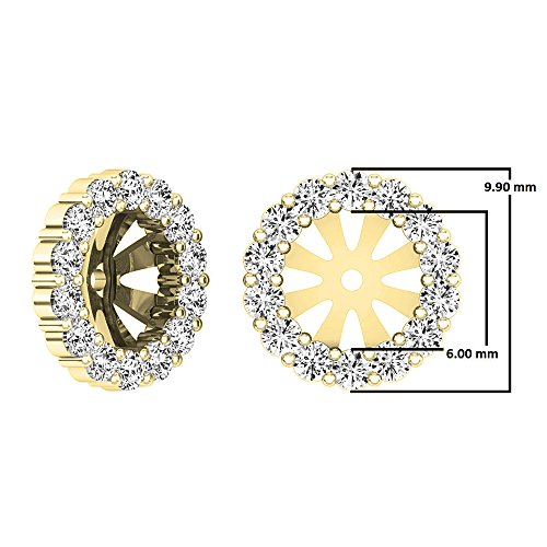 0.65 Carat (ctw) 10K Yellow Gold Round Cut Diamond Removable Jackets For Stud Earrings by DazzlingRock Collection