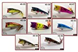 Akuna Pack of 8 Top Dog Series 2.4 inch Topwater Popper Fishing Lure [BP 8 FLA 48 Z] For Sale