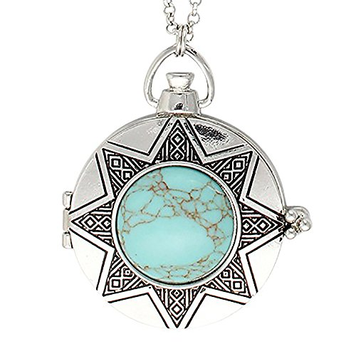 Simulated Turquoise Chevron Magnifier Necklace