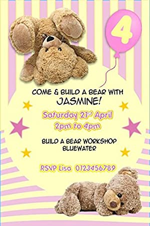 Personalised Build A Bear Party Invitations