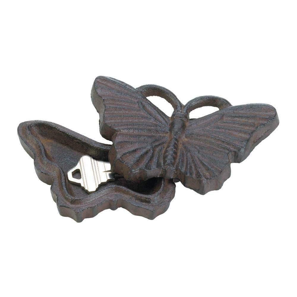 AK Energy 4'' Butterfly Cast Iron Emergency Secret Key Keeper Hider Stash Box Outdoor Security Statue by AK Energy