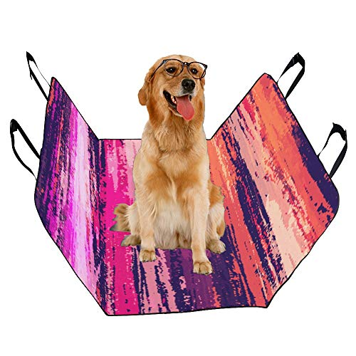 XINGCHENSS Fashion Oxford Pet Car Seat Abstract Grunge Style Art Hand Drawn Design Vintage Watercolor Color Waterproof Nonslip Canine Pet Dog Bed Hammock Convertible for Cars Trucks SUV