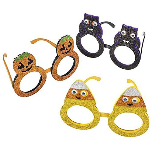 Kids Halloween Glitter Glasses Party Supplies Party Favors (Pumpkin, Bat, Candy Corn) - 12 Pack
