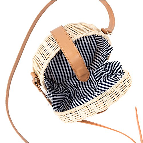 Handbags Outdoor Cross Hand Women woven Rattan Beach Shoulder Summer Purse Straw Bag And body Beach for Pocket Summer Round Weave Bag fAIHf6w7q
