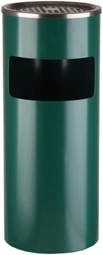 ゴミ箱の分類 ゴミ箱ことができます屋外の円筒形ステンレススチール製のリサイクルビンの台所の庭ふた付きロビー喫煙エリア灰皿 無臭 (Color : Green, サイズ : 24in)