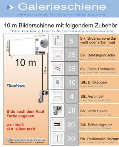 Relativ Galerieschiene Bilderschienen Komplett-Set 10m Bilderleiste in OL66