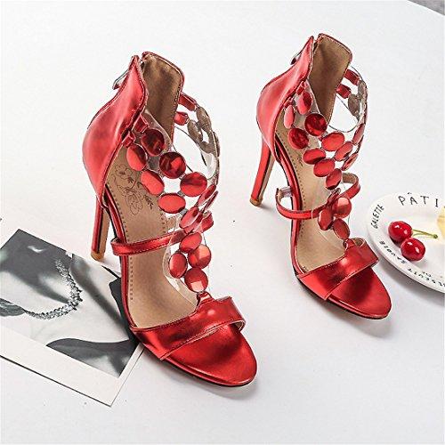 super signore Raptor sandali sexy moda sandali tacco sandali signore semplice alto i Rosso rqtfrS