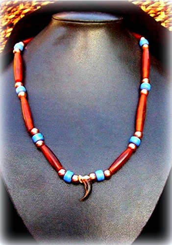 Native American necklace, Ram horn, Coyote claw necklace, Cherokee, Choctaw made necklace, Beaded necklace, Tribal, 16 inch length (Necklace Beaded Handmade)
