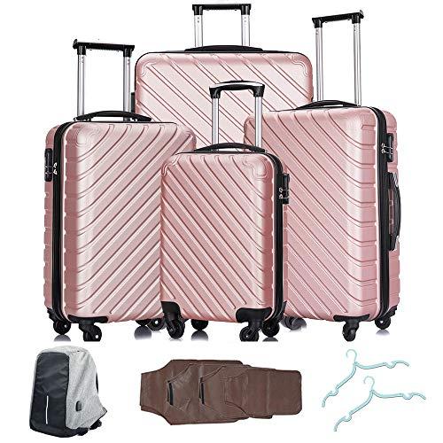 - 4 Pcs Luggage Set Trolley Spinner Suitcase Hardshell Travel Bag 18