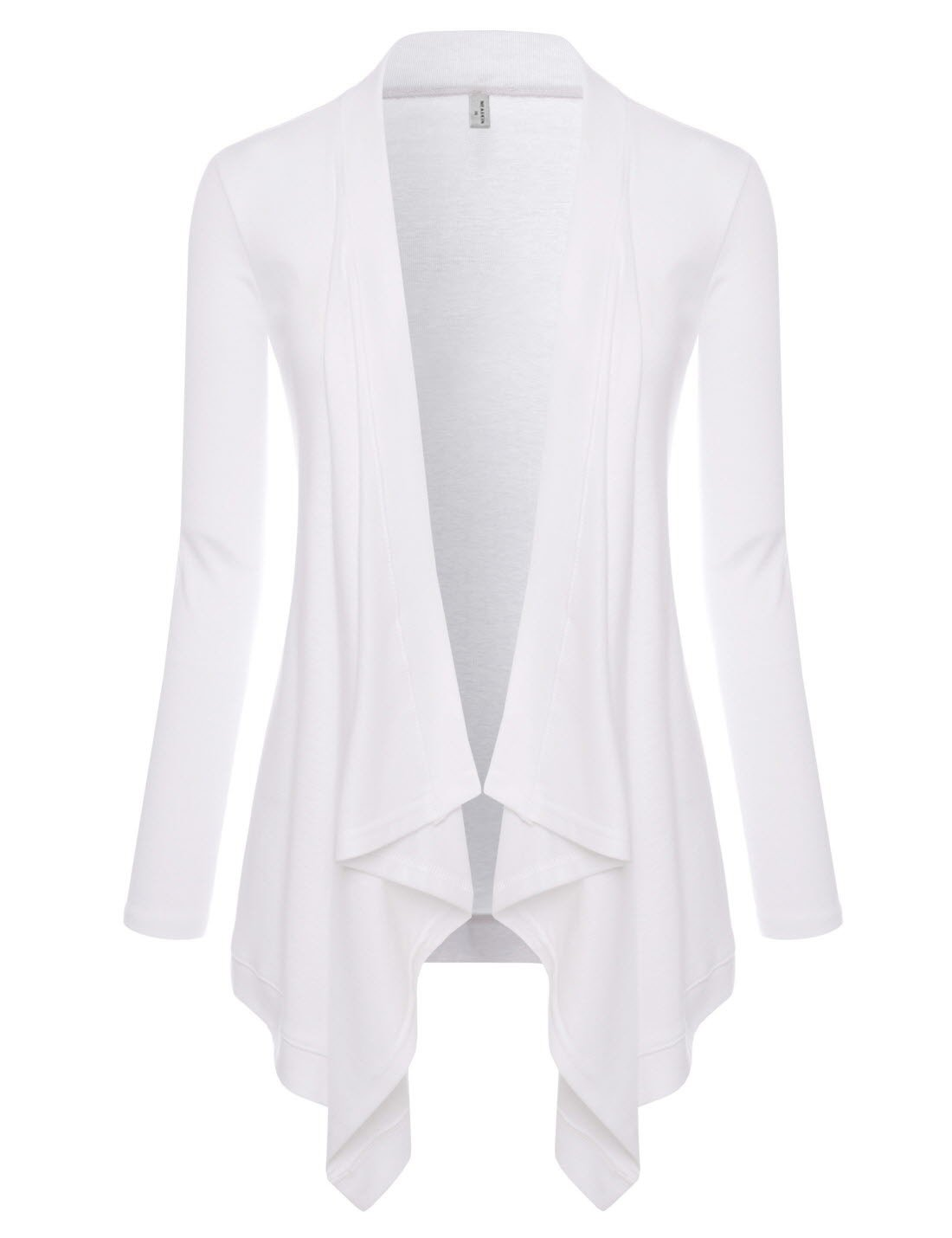 NEARKIN (NKNKWCD692) Womens Lightweight Long Sleeve Open Front Drape Tunic Cardigans WHITE US S(Tag size M)