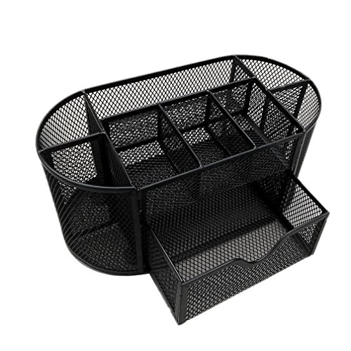 Desk Supplies Organizer, iLH Space Saving 9 Compartment Mesh Office Desk Drawer Supplies Organizer Pencil Holder Storage Box (Black) (Office Chair With Tray compare prices)