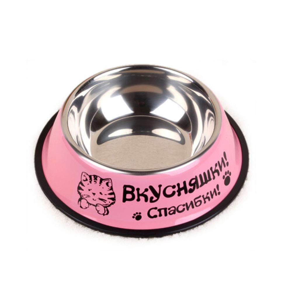 XIAN Dog bowlPet Grass Green Stainless Steel Pointless Food Bowl Choose Your Size, 4 Oz to 72 Oz Easy to Clean Non-Skid Bowls for Dogs (color   Pink, Size   6  4.5  1.8)