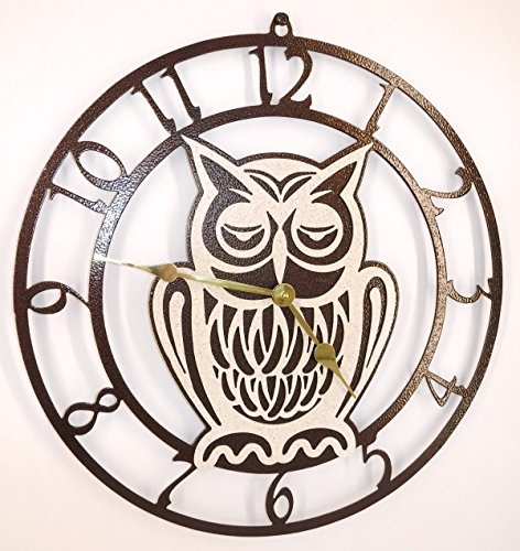 Owl Wall Clock. Handmade in USA. Copper Vein with Brass Hands. Quartz Movement. 15 inch Wide
