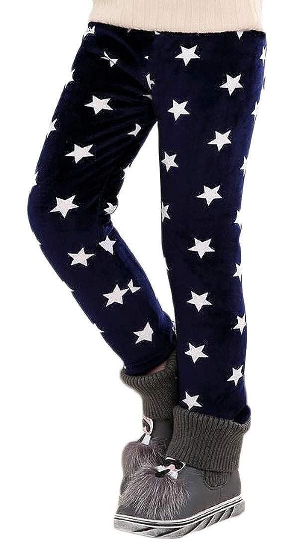 Macondoo Girls Print Elastic Waist Winter Fleece Thick Tights Cotton Leggings Pants