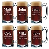 Set of 3, Set of 5 Set of 7 and more Personalized Groomsmen Beer Glasses - Custom Engraved Groom, Best Man Gift Mugs - 3 Lines Style 12 oz (6)