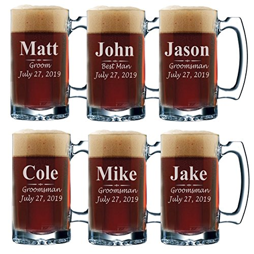Set of 3, Set of 5 Set of 7 and more Personalized Groomsmen Beer Glasses - Custom Engraved Groom, Best Man Gift Mugs - 3 Lines Style 12 oz (6) (Best Man Groomsmen Gifts)