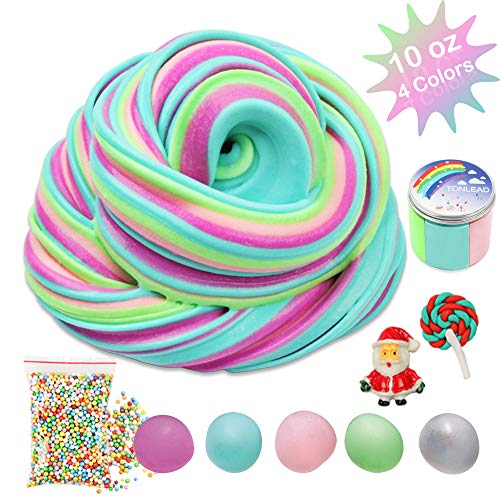 Colorful Fluffy Floam Slime with Foam Beads, DIY 10 oz Jumbo Fluffy Slime Kit Easy Bubble Slime with Container, Soft Clay Scented Slime Non Sticky Sludge Party Toy Favor Birthday Ideas for Boys Girls -