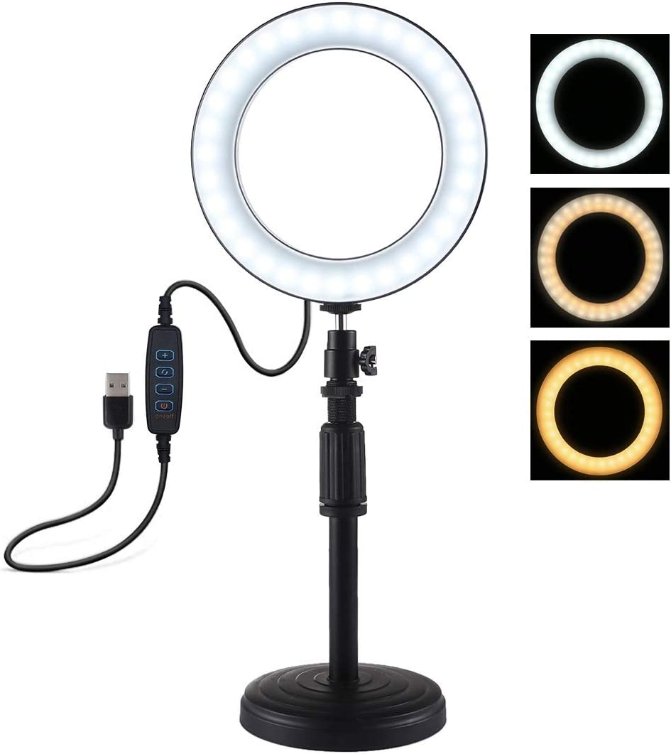 Happyshopping Adjustable Stand Round Base Desktop Mount Adjustable Height 18cm-28cm 6.2 inch 3 Modes USB Dimmable LED Ring Vlogging Video Light