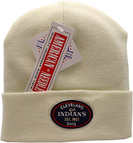 Cleveland Indians Knit Hat Cuffed Patch Logo White 11815