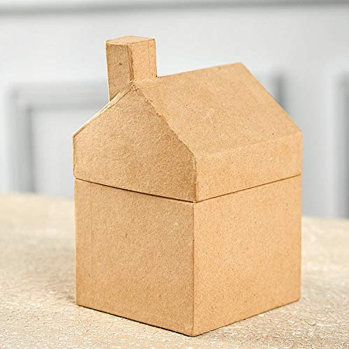 Factory Direct Craft Ready to Decorate Paper Mache House Boxes - 2 Boxes