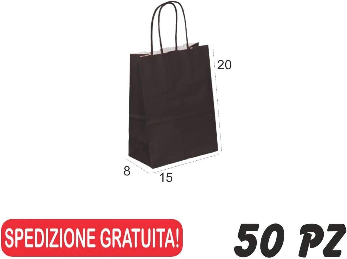 OVERBAGS 50 PZ Borse Shopper di Carta Manico Cordino Sacchetti Carta Nero cm 15x8x20