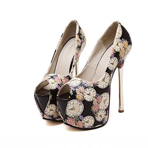 L@YC Frauen-offene Zehe-wasserdichte hohe Abs?tze spitzte bequeme einzelne Schuhe Partei / Kleid / Schwarzes / Purpur / Wei? Black
