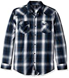Burnside Men's Choice Longe Sleeve Button Down Woven Shirt, Blue Plaid, Small