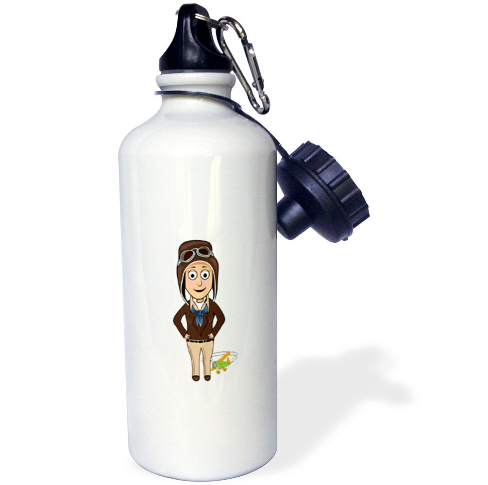 White 21 oz 3D Rose 1 wb/_240611/_1 Sports Water Bottle