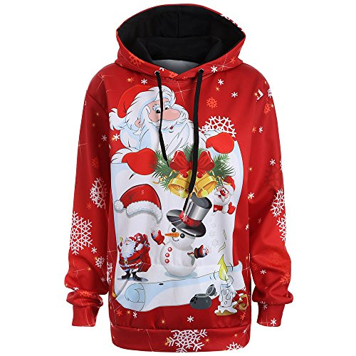 Sunhusing Ladies Santa Snowman Print Long Sleeve Hoodie Sweatshirt Fashion Pullover Top