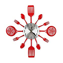 CIGERA 16 Inch Large Kitchen Wall Clocks with Spoons and Forks,Great Home Decor and Nice Gifts,Red