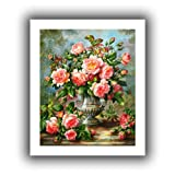 Art Wall williams-b-004-14x18 Albert Williams 'English Elegance Roses in a Silver Vase' Unwrapped Canvas Artwork, 18 by 22-Inch