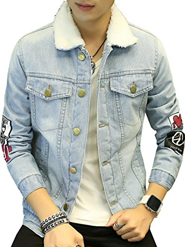 S&S Men's Fashion Blue Denim Jackets Embroidery Patch But...