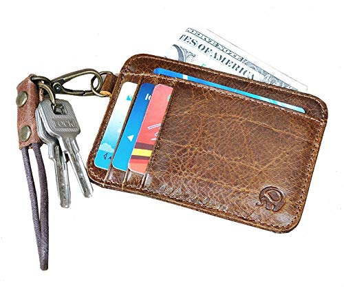 37d098aee0f0 AnnabelZ Card Holder Genuine Leather Slim Front Pocket Wallet Credit Card  Case Sleeve with ID Window (Dark Brown)