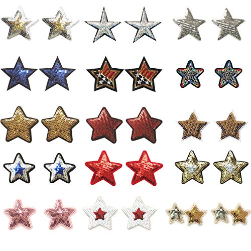 Misscrafts 30pcs Embroidery Sequined Five-Pointed Star Appliques in Assorted Size Iron Embroidery Applique Decoration DIY Patch for DIY Backpack Clothing Men Women