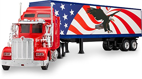 Wheel Master Kenworth W900 Play Toy Tractor Trailer Truck for Kids 1/43 Die Cast Scale, USA Flag and Eagle Design, with Functions, Pre Built, Realistic Look and Openable Doors