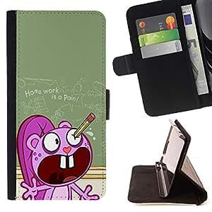 BullDog Case - FOR/Samsung ALPHA G850 / - / school cartoon ugly pencil homework /- Monedero de cuero de la PU Llevar cubierta de la caja con el ID Credit Card Slots Flip funda de cuer