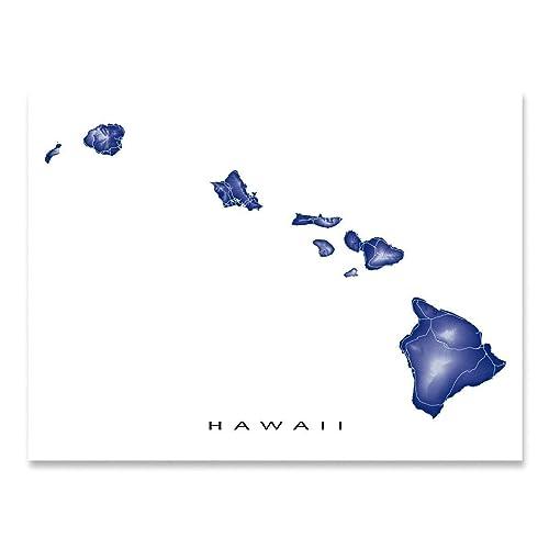 photo regarding Printable Map of Hawaii named Hawaii Map Print, Hawaiian Islands, Landscape Artwork, Maui
