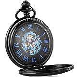 LYMFHCH Mechanical Pocket Watch Skeleton Hand-wind engraved Metal Blue Black