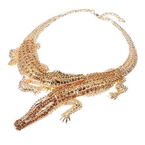 XBY-Jewel Fashion Choker Statement Necklace Crocodile Alligator Chain Crystal Collar Pendant Bib Necklace for Men/Women
